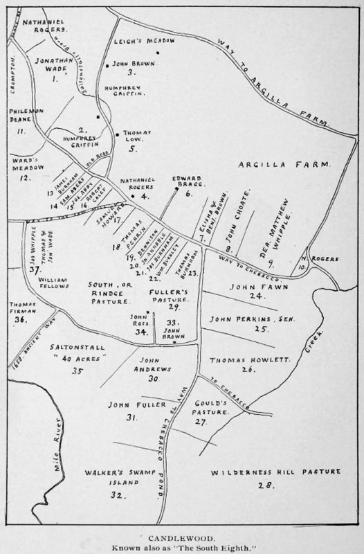 """Map of early settlers of Candlewood, from """"Candlewood, an Ancient Neighborhood """" by Thomas Franklin Waters"""