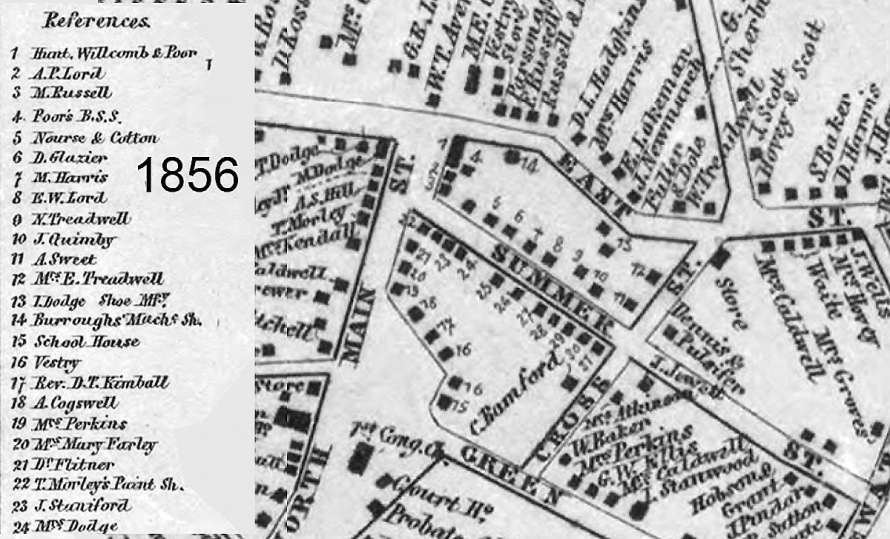1856 Ipswich map of Summer St.