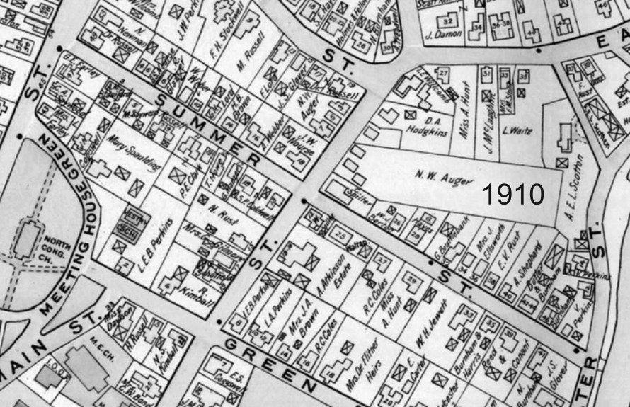 1910 Ipswich map of Summer St.