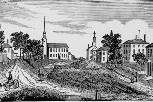 Woodcut of historic Ipswich Town Hill