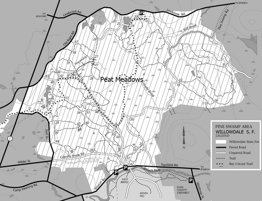 Willowdale State Forest trail map, showing the location of the Peat Meadows