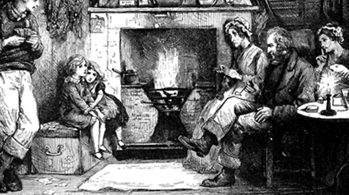 Telling stories around the fireplace
