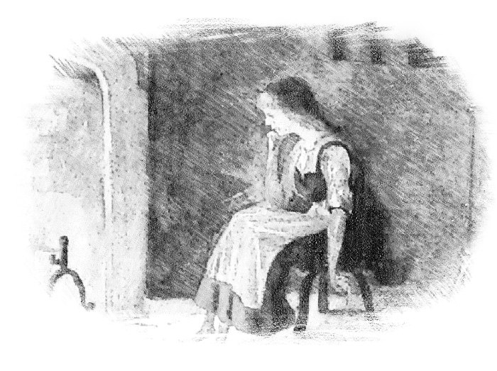 Woman sitting by hearth