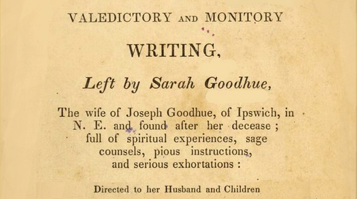 Sarah Goodhue's advance directive, July 14, 1681