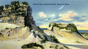 Postcard of the sand dunes at Ipswich Beach