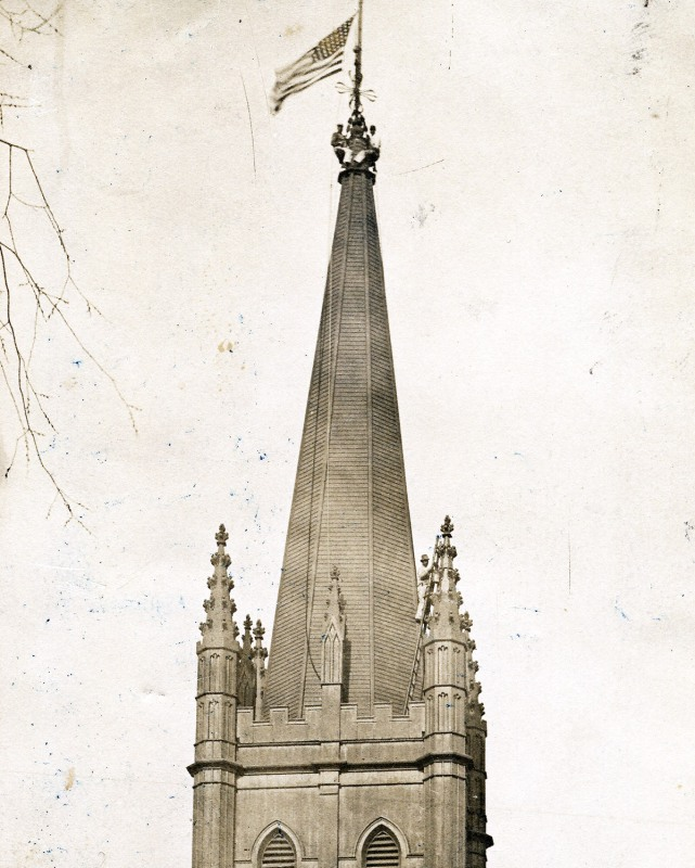 Steeple painters planted a flag on the North Church spire in No. 1900. Photo by Savory