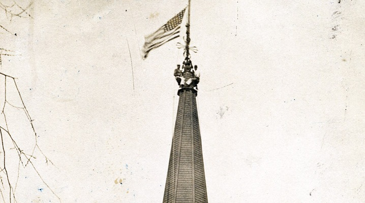 Flag flying atop First Church in Ipswich