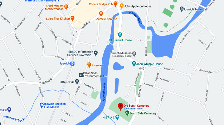 Map to Old South Cemetery in Ipswich