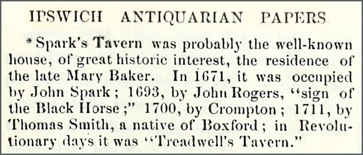 Note about sparks' Tavern in the Ipswich Antiquarian Papers