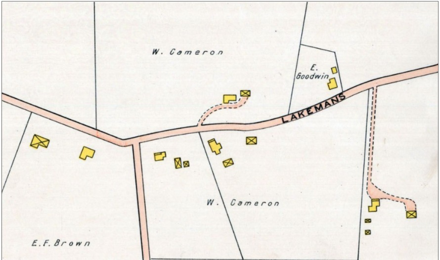 1910 map of Ipswich showing the William J. Cameron property, which includes the house at 27 Lakemans Lane, said to have been built by Benjamin Fellows