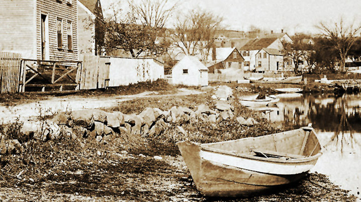 19th Century path along the Ipswich River that is now Water St.