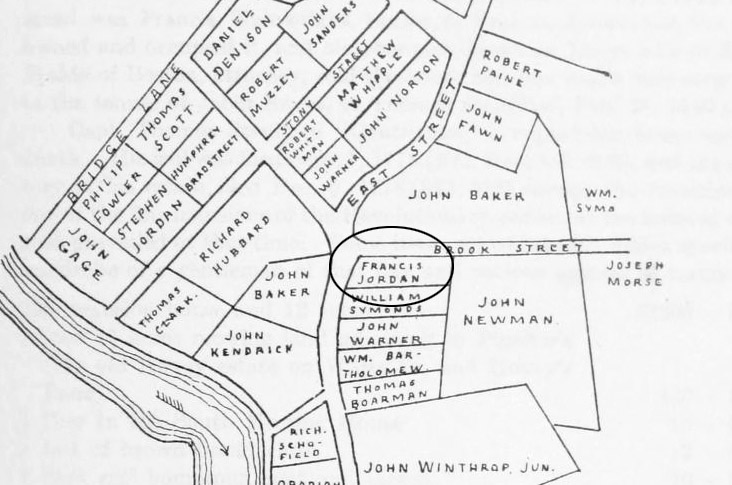 Early settlers of Ipswich MA map