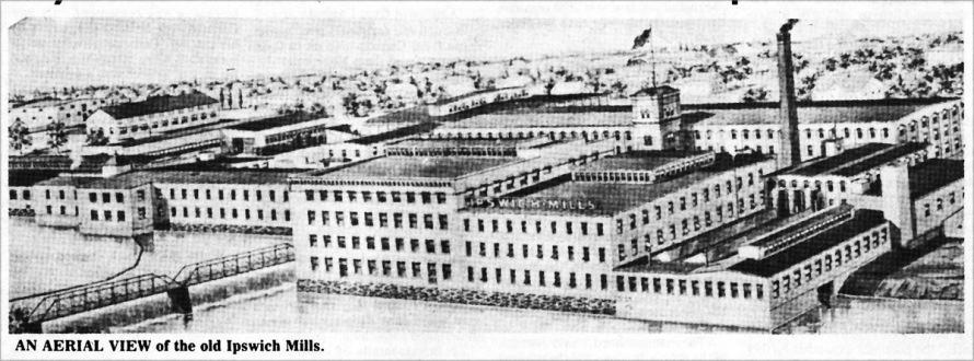 Aerial view of the Ipswich Mills