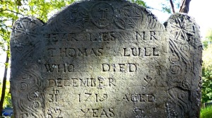 Tombstone of Thomas Lull at the Old North Burying Ground in Ipswich