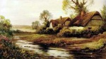 Thatched cottage by a River by Augustus Spencer
