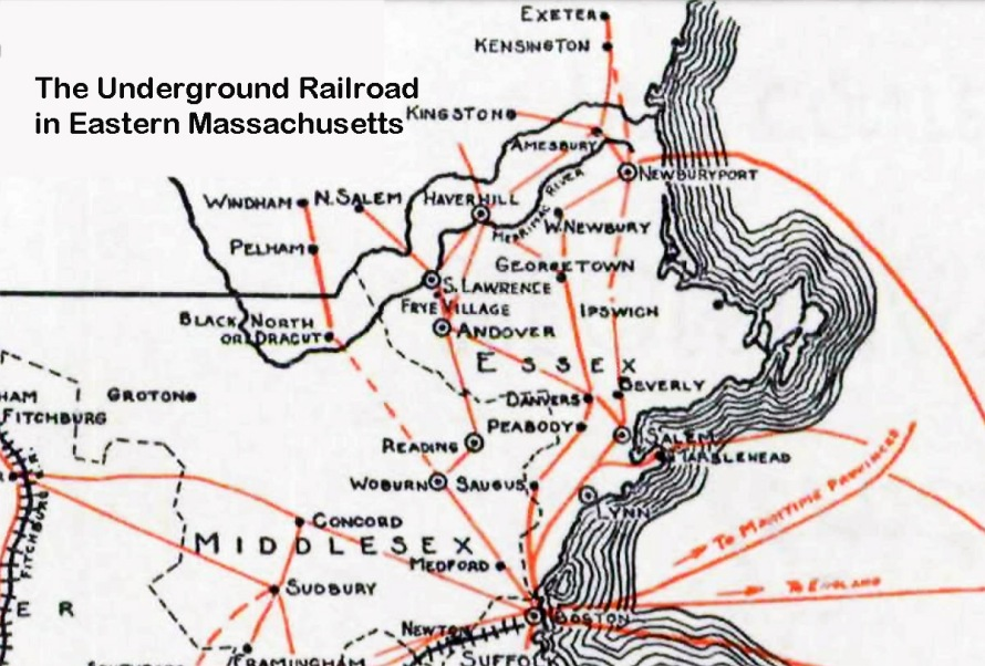 Map of the Underground Railroad in Eastern Massachusetts
