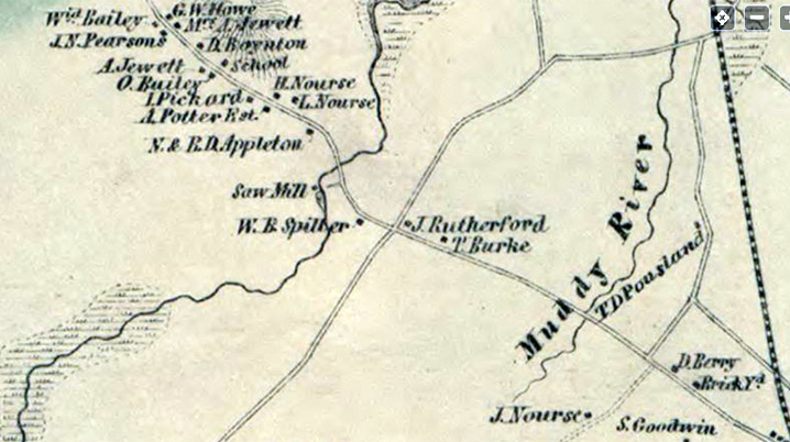 Excerpt from the 1856 map of Ipswich
