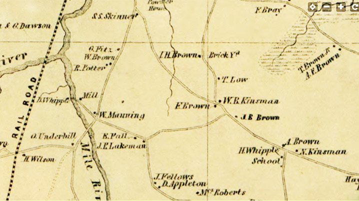 Closeup of 1856 map of Ipswich showing Essex Road
