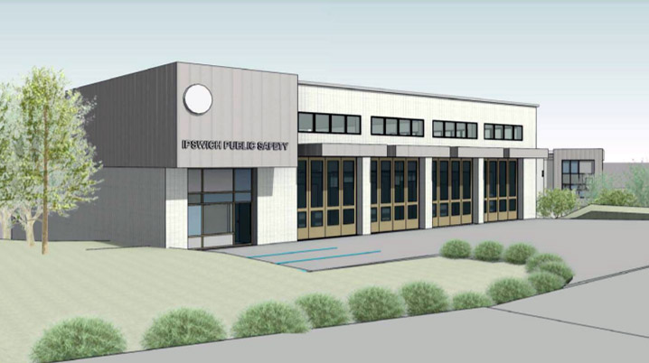 Sketch of the proposed new Public Safety building on Linebrook Rd.